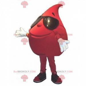 Mascote gigante da gota de sangue com óculos de sol -