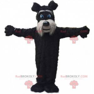 Black and gray terrier mascot, hairy dog costume -