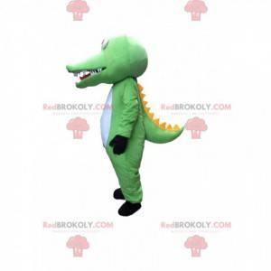Mascote crocodilo verde, branco e amarelo, fantasia de