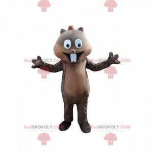 Esquilo mascote com dentes grandes, animal da floresta -