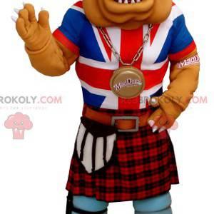 Bulldoggenmaskottchen in angelsächsischer Kleidung -