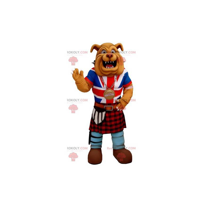 Maskot buldok oblečený v anglosaském oděvu - Redbrokoly.com