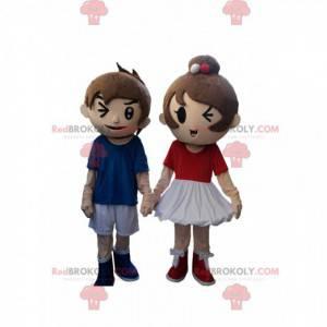 2 mascottes, een jongen en een meisje, een paar kinderen -