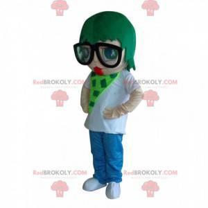 Mulher mascote com cabelo verde, fantasia colorida -