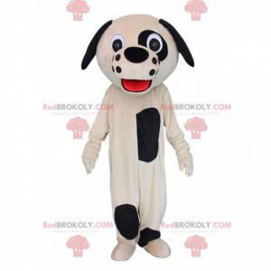 Maskot béžového a černého psa, kostým plyšového psa -