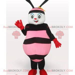 Mascota de abeja rosa y negra - Redbrokoly.com