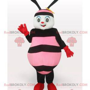 Rosa und schwarze Bienenmaskottchen - Redbrokoly.com