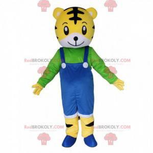 Mascotte kleine tijger met overall, tijgerkostuum -