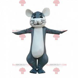 Mascote de rato cinza e branco, fantasia de roedor -