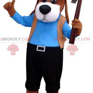 Brown dog mascot in blue and black outfit - Redbrokoly.com