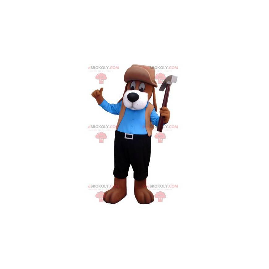 Braunes Hundemaskottchen im blauen und schwarzen Outfit -