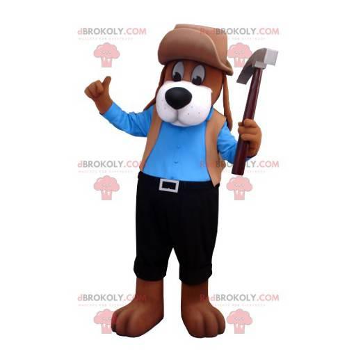 Hnědý pes maskot v modré a černé oblečení - Redbrokoly.com