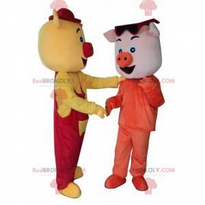 2 mascotte di maiale colorate e divertenti, 2 maiali -