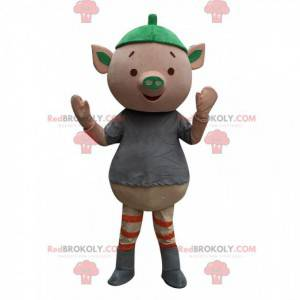 Erg leuk roze varken mascotte, klein varken kostuum -