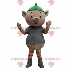 Mascote porco rosa muito divertido, fantasia de porquinho -