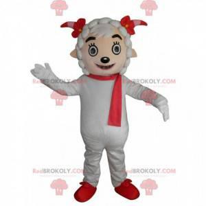 Weißes Schafmaskottchen mit rotem Schal und Hörnern -
