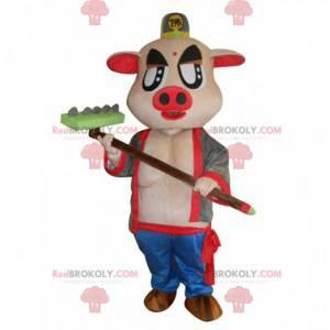Mascota de cerdo rosa muy original con rastrillo -