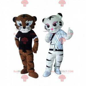 2 tiger mascots in Kung fu outfit, karate costumes -