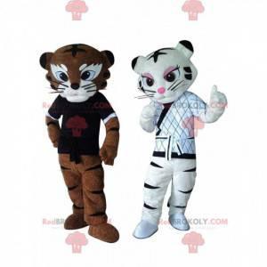 2 tijgermascottes in Kung Fu-outfit, karatekostuums -
