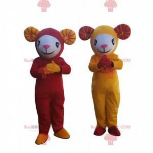 2 Maskottchen mit Schafen, gelben und roten Ziegen -