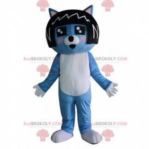Mascotte blauwe kat met een zwarte pruik op zijn hoofd -
