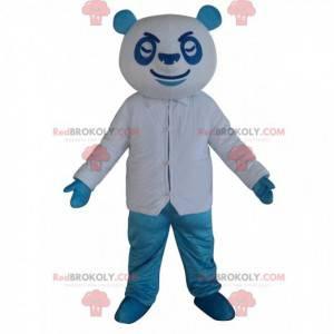 Niebiesko-biała maskotka panda, kolorowy kostium misia -