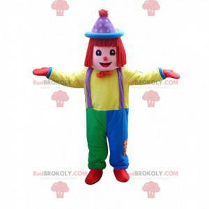 Mascote palhaço multicolorido, fantasia de acrobata de circo -