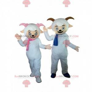 2 Schafsmaskottchen mit Schals und kleinen Hörnern -