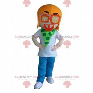 Menino mascote, jovem com óculos laranja - Redbrokoly.com