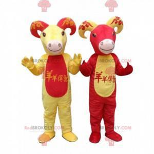 2 mascotes de cabras vermelhas e amarelas, fantasias de cabra -