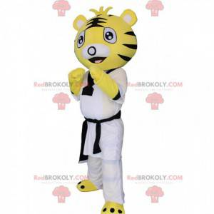 Mascote tigre em caratê, judô, esporte de combate -