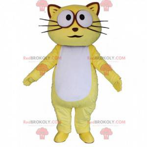Geel en witte kat mascotte, kleurrijk kattenkostuum -