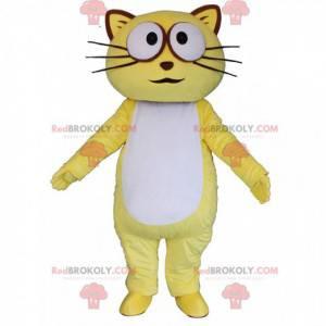 Gelbes und weißes Katzenmaskottchen, buntes Katzenkostüm -
