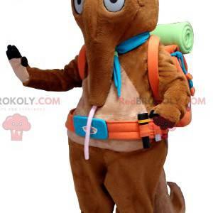 Brown tapir anteater mascot with a hiker bag - Redbrokoly.com