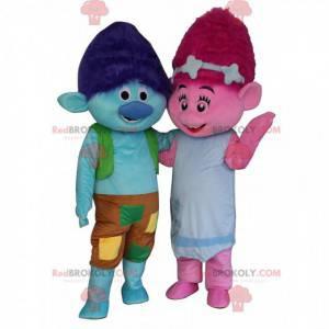 2 kleurrijke trol mascottes, een blauwe jongen en een roze