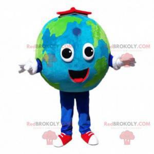 Mascota del planeta Tierra, disfraz de globo terrestre gigante