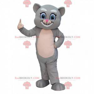 Mascotte gatto grigio e bianco con gli occhi azzurri, costume