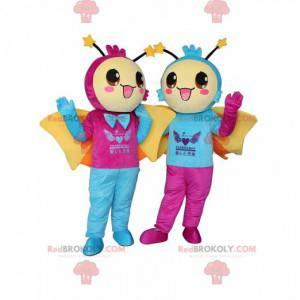 2 mascotes de borboletas sorridentes, fantasias quentes -