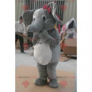 Grå og hvid elefant maskot - Redbrokoly.com