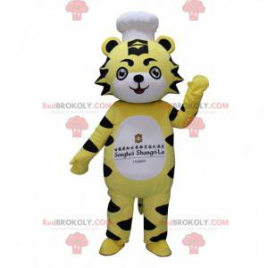Mascote tigre amarelo, branco e preto com chapéu de chef -