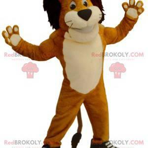 Černá a bílá oranžová lev maskot - Redbrokoly.com