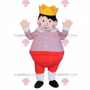 Kindkoning mascotte, prins kostuum met een kroon -
