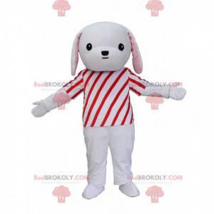 Šedé a bílé štěně maskot s červeno-bílým oblečením -