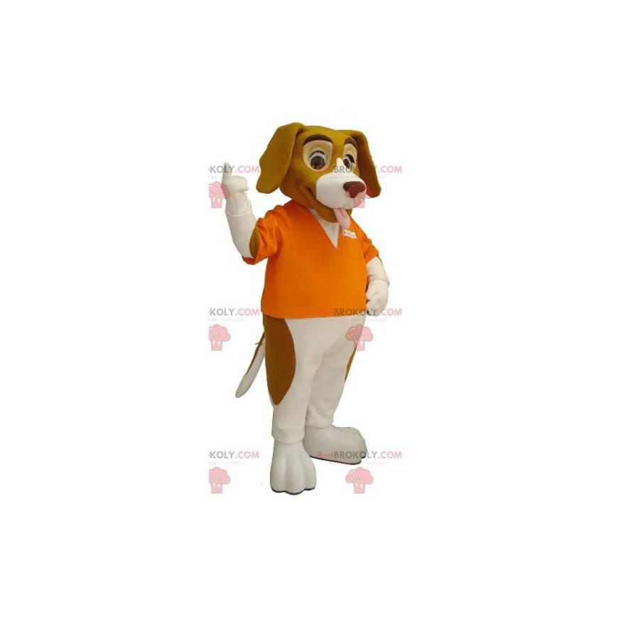 Braunes und weißes Basset Hound Hundemaskottchen -