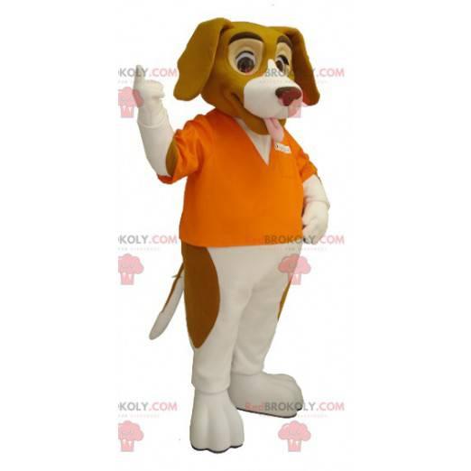 Hnědý a bílý baset pes maskot - Redbrokoly.com