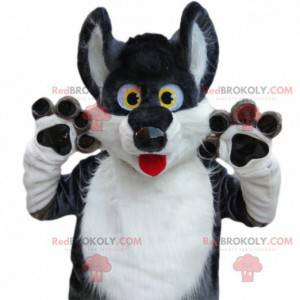 Grå og hvit husky maskot, fortryllende ulvehunddrakt -