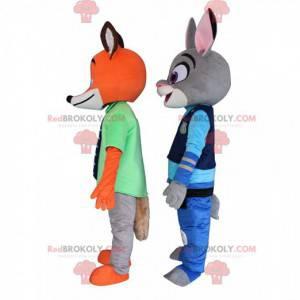2 maskoti Zootopia, králičí Judy Hall a liška Nick -