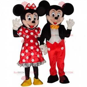 2 mascotes Mickey Mouse e Minnie, fantasias da Disney -