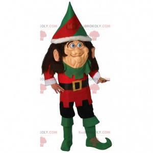 Mascote de duende de Natal atípico, fantasia de troll de Natal
