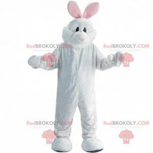 Bílý a růžový maskot králíka, kostým plyšového zajíčka -